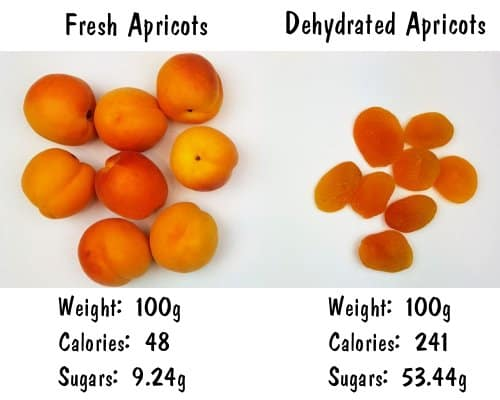 apricots fresh vs dehydrated