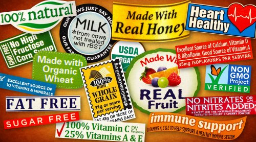 """Example of various """"good for you"""" labels manufacturers use"""