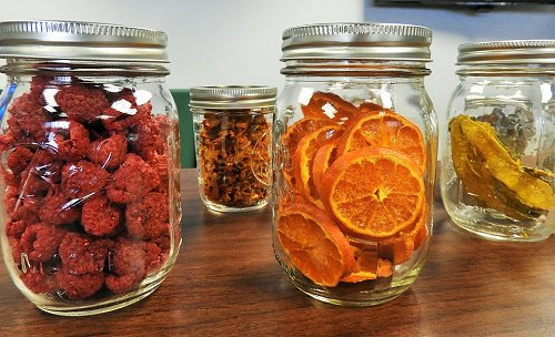Deydrated Food Options Stored in Mason Jars