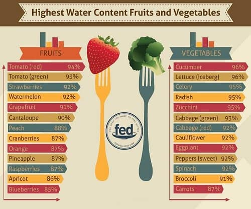 fruit and vegetable water content chart