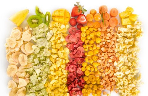 Variety of Freeze Dried Fruits and Vegetables